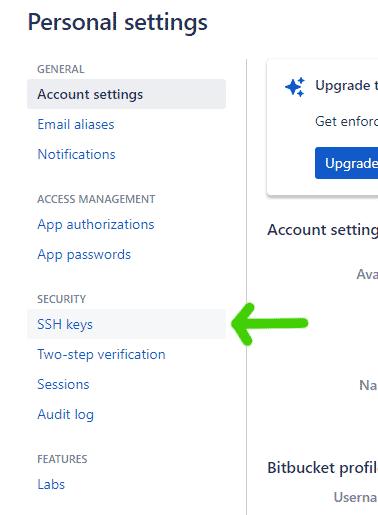 ssh bitbucket account access step 2