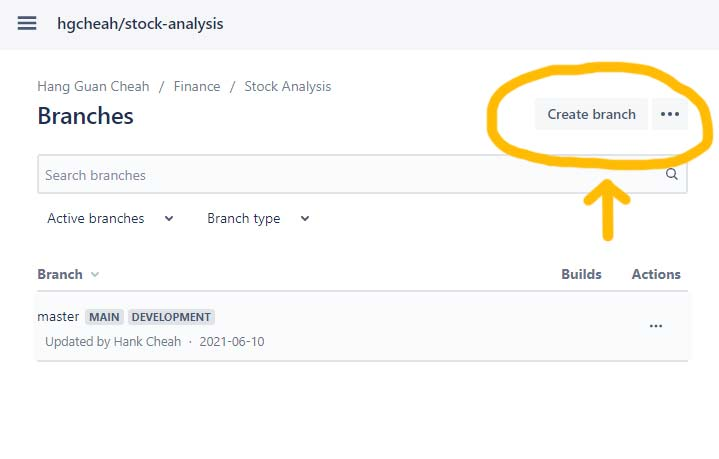 bitbucket Create branch button
