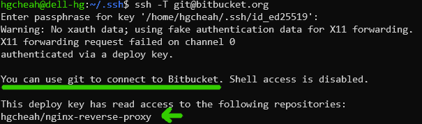 testing bitbucket ssh connection